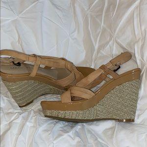 Marc Fisher tan wedge sandals. sz 8.5
